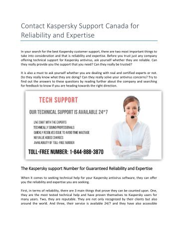 Contact Kaspersky Support Canada for Reliability and Expertise