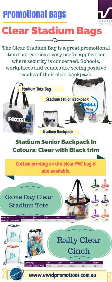 Persoanlised Clear Stadium Bags at Vivid Promotions