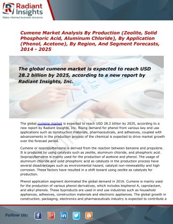 Cumene - Industry Analysis, Size, Share, Forecast to 2025:Radiant Insights, Inc