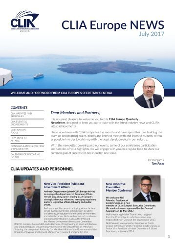 CLIA Europe Newsletter June 2017