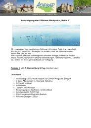 """Besichtigung des Offshore Windparks """"Baltic 1"""" - Wind Energy Network"""