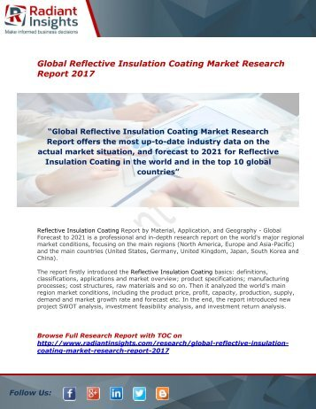 Reflective Insulation Coating Market 2017 : Latest Forecast Report By Radiant Insights,Inc