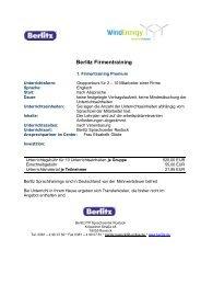 Berlitz Firmentraining - Wind Energy Network