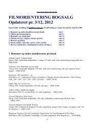 FILMORIENTERING BOGSALG Opdateret pr. 3/12, 2012