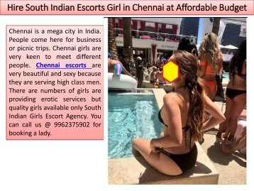 Hire South Indian Escorts Girl in Chennai at Affordable Budget
