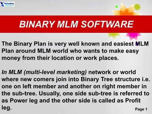 Binary Online MLM Company Calculator Network Marketing