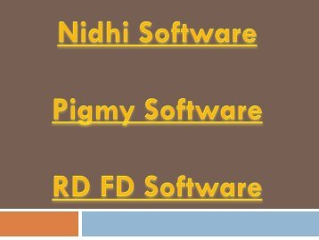 Producer Company, Nidhi Software, Matched Finance, Nidhi Gold, Nidhi Software, RD FD Software