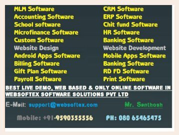 Network MLM Software, MLM Career Plan,  Online Tax Booking, Microfinance Software, Co-Operative Software