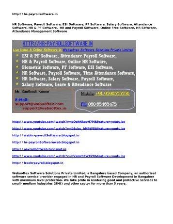 HR Software, Payroll Software, ESI Software, PF Software, Salary Software, Attendance Software, HR & PF Software