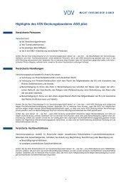 Highlights des VOV-Deckungsbausteins AGG plus - VOV GmbH