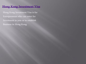Hong Kong investment visa
