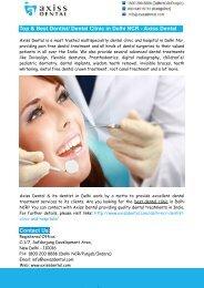 Top & Best Dentist Dental Clinic in Delhi NCR - Axiss Dental