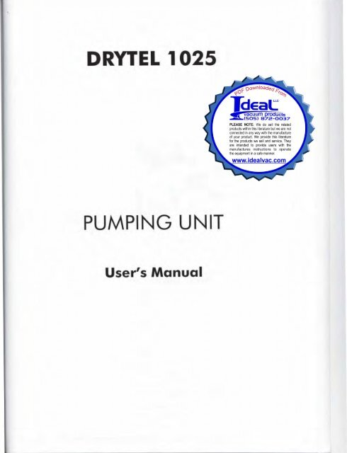 Alcatel Adixen Pfeiffer Drytel 1025 Users Service