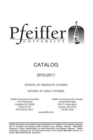 Charlotte Catalog 2006-2007 - Pfeiffer - Pfeiffer University