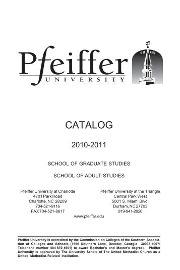 Charlotte Catalog 2006-2007 - Pfeiffer - Pfeiffer University