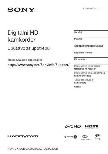 Sony HDR-CX200E - HDR-CX200E Mode d'emploi Serbe