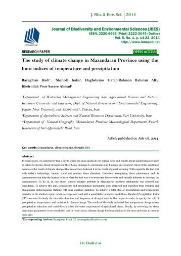 The study of climate change in Mazandaran Province using the limit indices of temperature and precipitation
