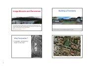 Image Mosaics and Panoramas Building a Panorama
