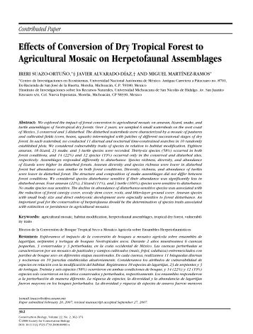 Effects of Conversion of Dry Tropical Forest to Agricultural Mosaic on ...