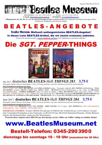 Beatles Museum - Katalog 75 mit Hyperlinks