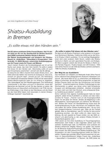 Shiatsu-Ausbildung in Bremen - Shiatsu Ausbildung für Frauen