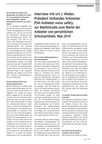 Interview mit Urs Weder zur Marktstudie - Swiss Safety