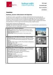 bauhaus_touren: Exkursionen mit Experten - Bauhaus Archiv