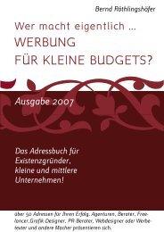 WERBUNG FÜR KLEINE BUDGETS? - Walser Organisation