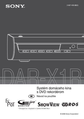 Sony DAR-X1R - DAR-X1R Consignes d'utilisation Slovaque