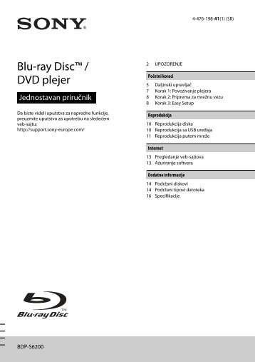 Sony BDP-S6200 - BDP-S6200 Simple Manual Serbe