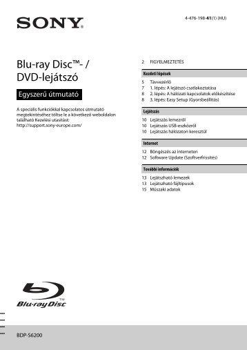 Sony BDP-S6200 - BDP-S6200 Simple Manual Hongrois