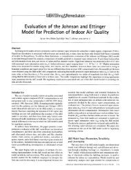 Evaluation of the Johnson and Ettinger Model for Prediction of ...