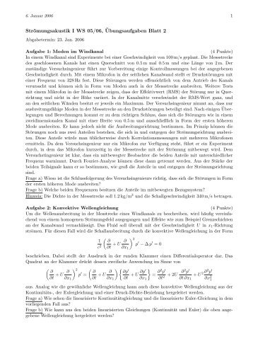 Strömungsakustik I WS 05/06, ¨Ubungsaufgaben Blatt 2