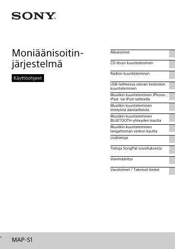 Sony MAP-S1 - MAP-S1 Consignes d'utilisation Finlandais