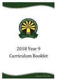 2018 Year 9 Curriculum Booklet