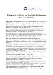 Bibliographie zur Theorie und Geschichte der Biographie