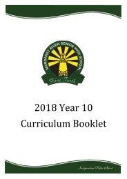 2018 Year 10 Curriculum Booklet
