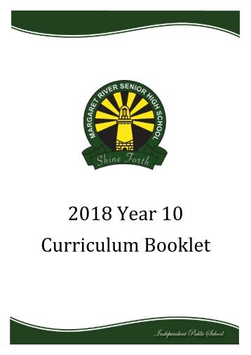 2018 Year 10 Curriculum Booklet