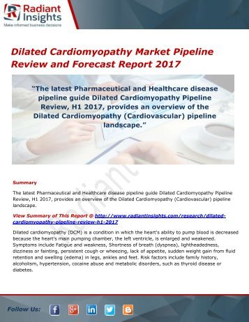 Dilated Cardiomyopathy Market Pipeline Analysis Report 2017