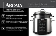 Aroma AROMA Professional 6-Quart Pasta Cooker, Rice Cooker & Slow CookerAMC-300SG (AMC-300SG) - AMC-300SG Instruction Manual - AROMA Professional 6-Quart Pasta Cooker, Rice Cooker & Slow Cooker