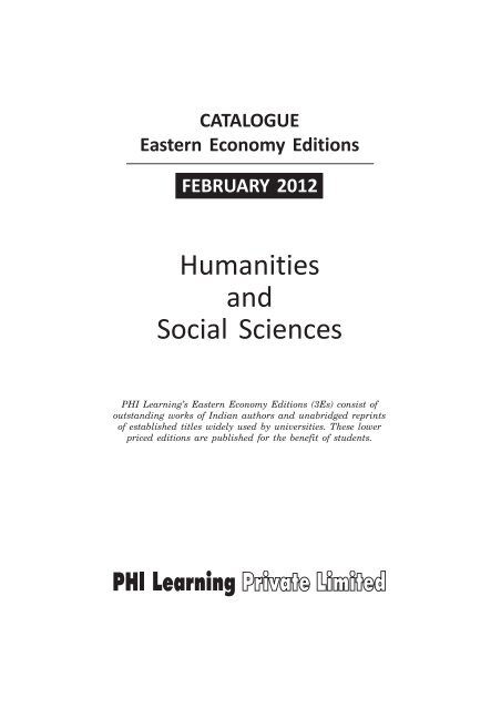Humanities And Social Sciences Phi Learning
