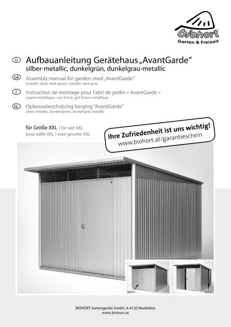 Aufbauanleitung Geratehaus Avantgarde Biohort