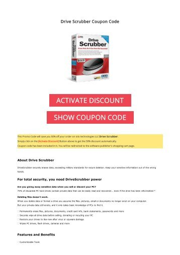 50% OFF Drive Scrubber Coupon Code 2017 Discount OFFER