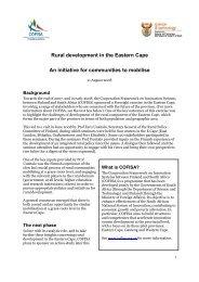 Rural development in the Eastern Cape An initiative for communities ...