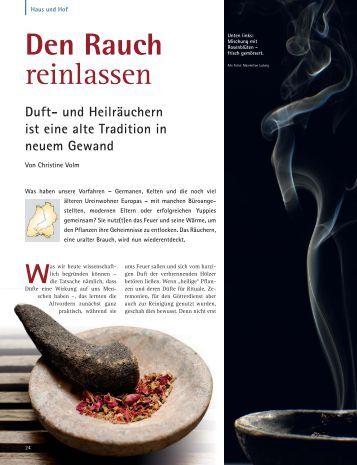 Duft- und Heilräuchern ist eine alte Tradition in ... - Dr. Christine Volm