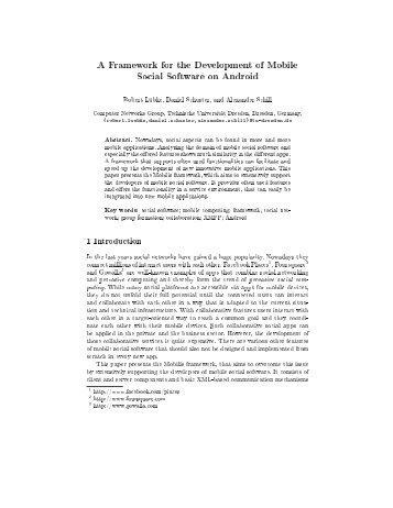 A Framework for the Development of Mobile Social Software on ...