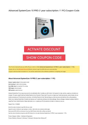 Advanced systemcare 6 coupon code