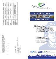 42.Deutscher Sportärztekongress in Frankfurt am Main - DGSP