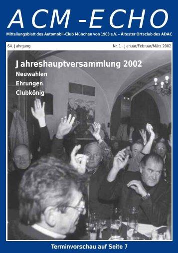 Jahreshauptversammlung 2002 - ACM Automobilclub München von ...
