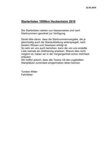 Starterlisten 1000km Hockenheim 2010 - Bernd Hufnagel - Hufnagel ...